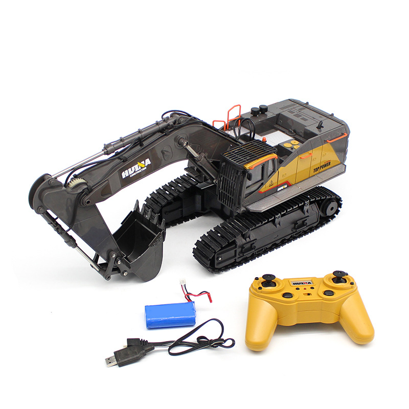 HUINA 1592 1:24 RC Excavator RC Car Radio Control Car Toy Road Construction Metal Autos Model RC Vehicle Model Toys With Battery