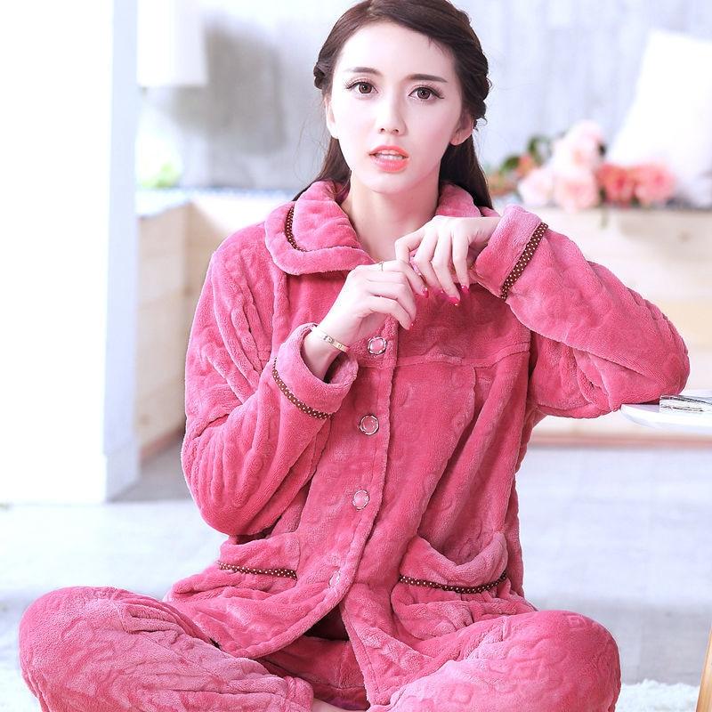 Sleepwear Women Set Winter Flannel Warm Solid Pijamas Women Thick Coral Fleece Pyjamas Woman Plus Size Long Pajamas For Female 2