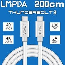 LMPDA cable thunderbolt 3 de 2m 40gbps usb-c cable activo 100W 5A USB-C cable usb tipo c para MacBook Pro