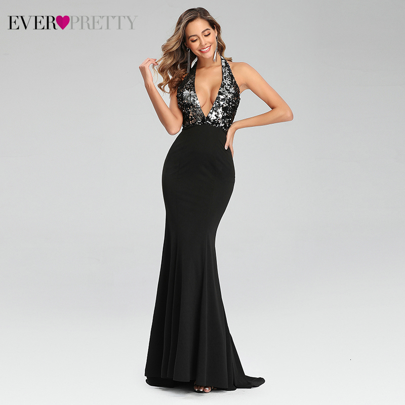 Sexy Backless Prom Dresses Ever Pretty Deep V-Neck Sequined Sleeveless Mermaid Party Gowns With Sweep Train Vestido De Festa