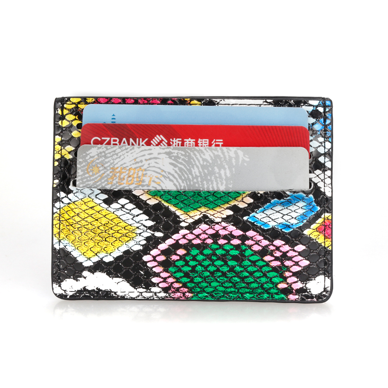 Women Snake Pattern Card Sets Multi-Card Position Compact Card Package Mini Leather Card Holder Document  Thin Wallet