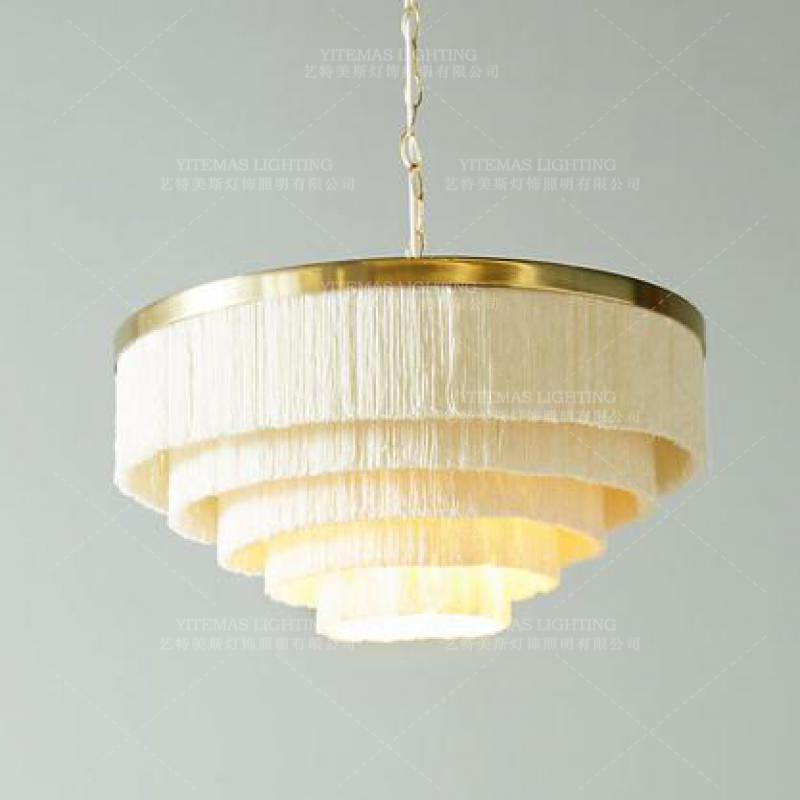 Fringe chandelier lighting gold White Beige cotton thread line bohemia chandelier for girls room bedroom wedding indoor lighting