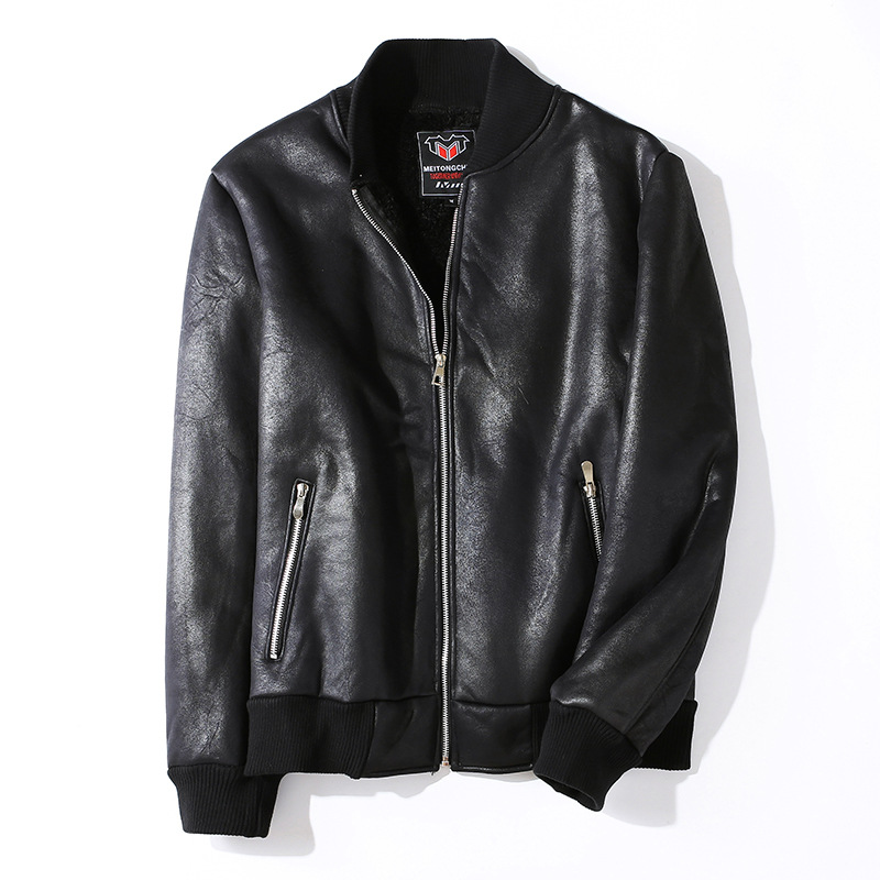 Autumn Winter Men's Casual Zipper PU Leather Jacket Motorcycle Coats Men Leisure Clothing Men's Warm Fleece Leather Jacket
