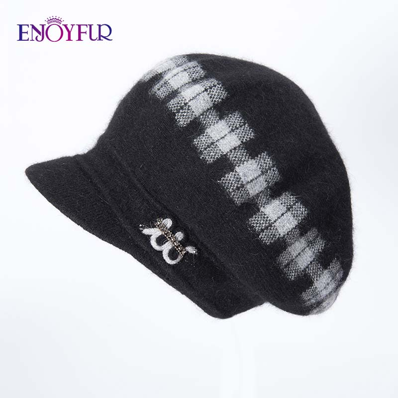 Image 5 - ENJOYFUR Rabbit Knitted Women's Hats Warm Thick Visors Cap For Winter High Quality Plaid Middle Aged Lady Caps Casual Hat Female-in Women's Skullies & Beanies from Apparel Accessories