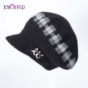 Image 5 - ENJOYFUR Rabbit Knitted Womens Hats Warm Thick Visors Cap For Winter High Quality Plaid Middle Aged Lady Caps Casual Hat Female