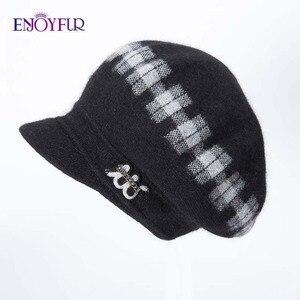 Image 5 - Enjoyfurウサギニット女性の帽子暖かい厚手バイザーキャップ冬の高品質チェック柄ミドル中年女性キャップカジュアル帽子女性