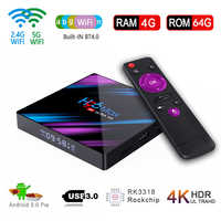 H96 max Smart TV Box Android 9.0 4GB 64GB Rockchip RK3318 Quad-Core 2.4G/5.8G Double WIFI décodeur 1080P 4K lecteur multimédia