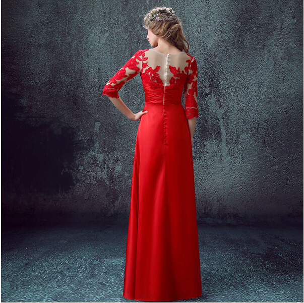 Formal gowns vestidos new hot sexy red long Evening Dress 2015 prom dresses ruffles button lace appliques three quarter sleeves