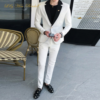 Two Pieces Slim Groom Wedding Party Formal Suit White and Black Gothic Weddings Blazer Pants Cheap High Quality