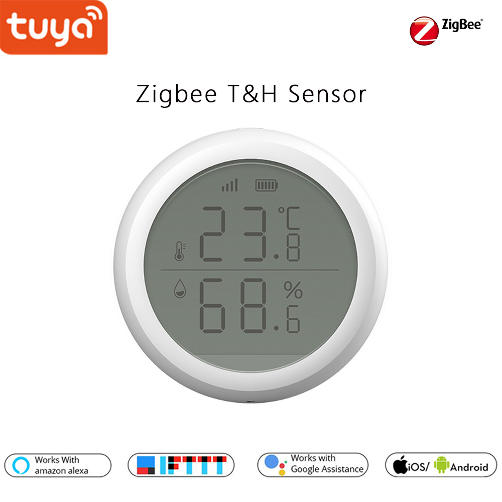 Tuya Zigbee Smart Home Temperature & Humidity Sensor With Lcd Screen, Support IFTTT Function Auto Turn On TV  Or Air Cons.