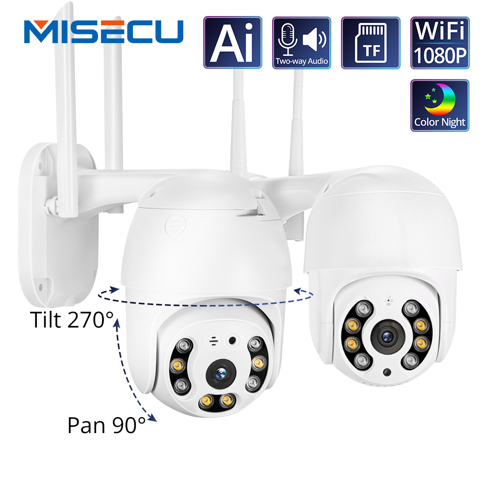 MISECU H.265 PTZ Wifi IP Camera 1080P Speed Dome AI Camera Wireless ONVIF Audio Outdoor Waterproof Color Night IR Security P2P