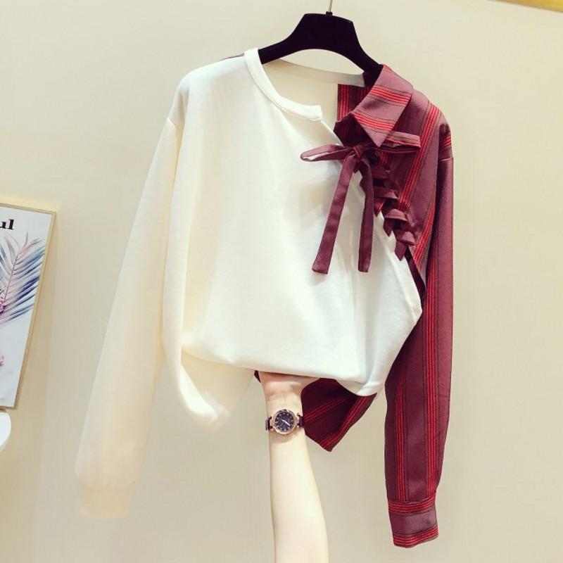 Spring Sweatshirt Women's New Korean Style Stitching Irregular Striped Shirt Long-Sleeve Top Ladies White Hoodie Hoodies Femme