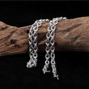 Image 3 - 59 Cm Gratis Verzending Groothandel 100% Echte Pure 925 Sterling Zilveren Ketting 9 Mm Dikke Ketting Mannen Gift Thai Zilver lange Ketting