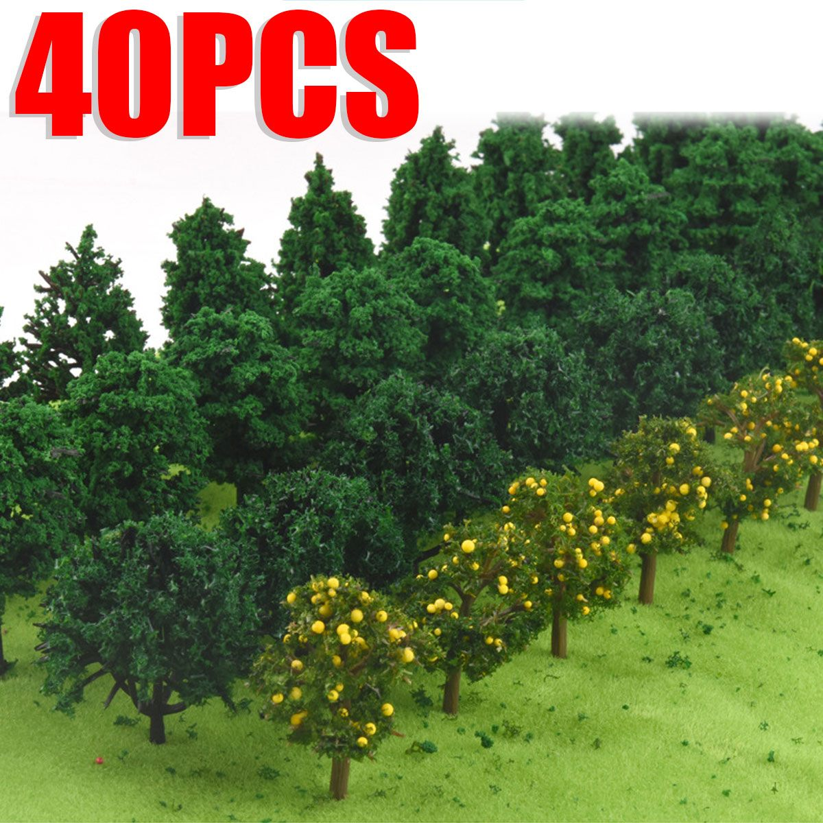 40PCS 50MM Mixed Miniature Model Trees Flower For Building Trains Railroad Layout Scenery Landscape Accessories Toys For Kids