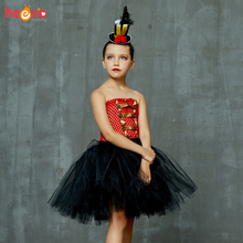 купить Carnival Circus Ringmaster Tutu Dress with Headband Girls Birthday Party Fancy Dress Lion Tamer Halloween Cosplay Costume по цене 466.99 рублей
