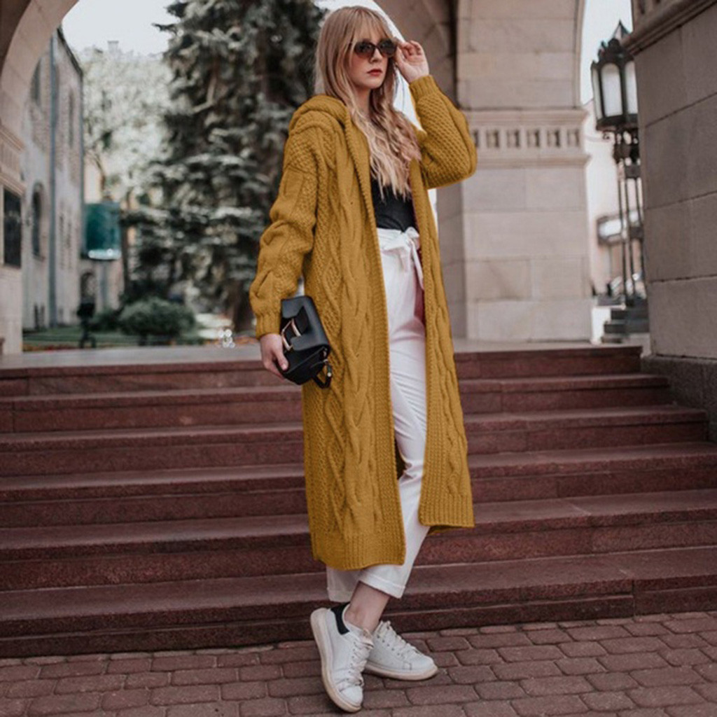 Sweater Women Casual Loose Hollow Slim Hooded Long Sleeve Solid Sweater Long Cardigan Coat Wholesale Free Ship кофта женская Z4