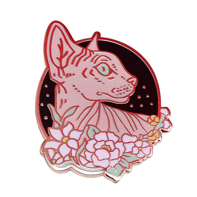 Sphynx avec fleurs badge épingle à chat sans cheveux sorcellerie gothique mignon alternative Emo bijoux