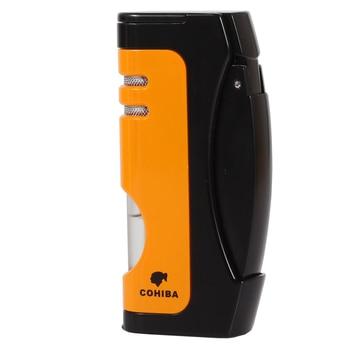 Cohiba Metal Cigar Cigarette Lighter 1 Torch Jet Flame Lighters Butane Gas Refillable Cigar Lighter W/ Cigar Punch Accessories
