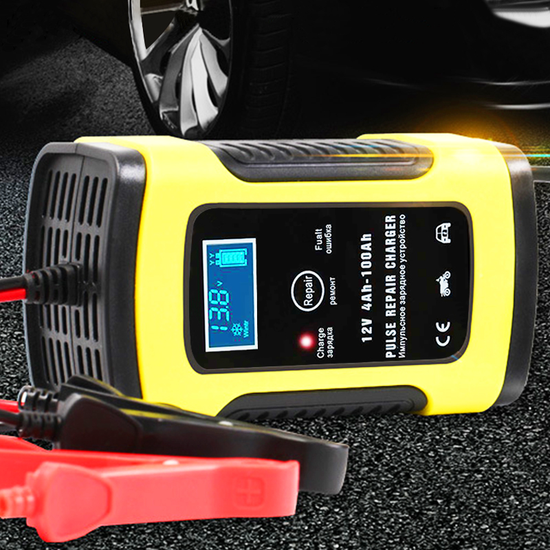 Motorcycle Car Battery Charger 110V to 220V To 12V 6A Intelligent Automatic Fast Power Charging Wet Dry Lead Acid LCD Display(China)