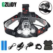 Super bright LED Headlamp 3 x T6 led lamp bead Waterproof led headlight 4 lighting modes camping lamp use 18650 battery 30000 super bright led headlamp t6 4 xml xpe led headlight lumens fishing lamp 4 lighting modes camping lamp use 18650 battery