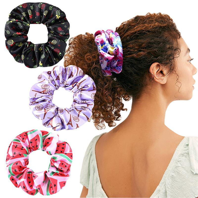 Fashion Women Satin Scrunchies Elastic Hair Bands Floral Bright Color Hair Scrunchie Girls Ponytail Holder Hair Ties Accessories