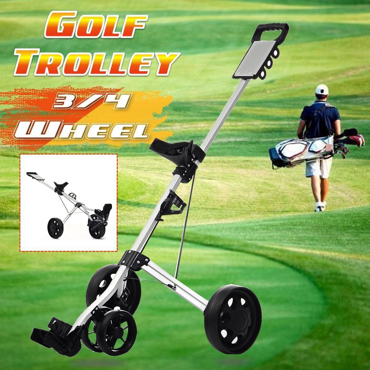 3/4Wheels Golf Trolley Professional Folding Golf Bag Trolley Outdoor Sport Multifunctional Supplies Foldable Push Pull Golf Cart 1