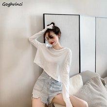 T-shirt à manches longues pour femmes, tenue de printemps, ample, Sexy, tendance, style coréen, Chic et assorti pour adolescentes