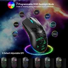 ALLOYSEED J900 6400 DPI Wired Gaming Maus USB Optische LED Computer Mäuse Für Laptop PC Spiel Professionelle Gamer 7 RGB licht
