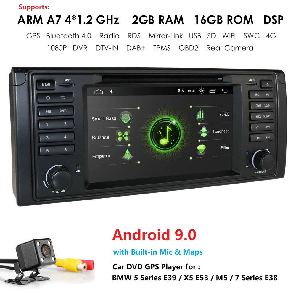 2G RAM 16G ROM 1DIN Android 9 Auto Radio For BMW/E39 <font><b>X5</b></font> <font><b>E53</b></font> M5 E38 Quad Core 7'' Car Multimedia GPS Navi RDS DSP SWC Mirror link image