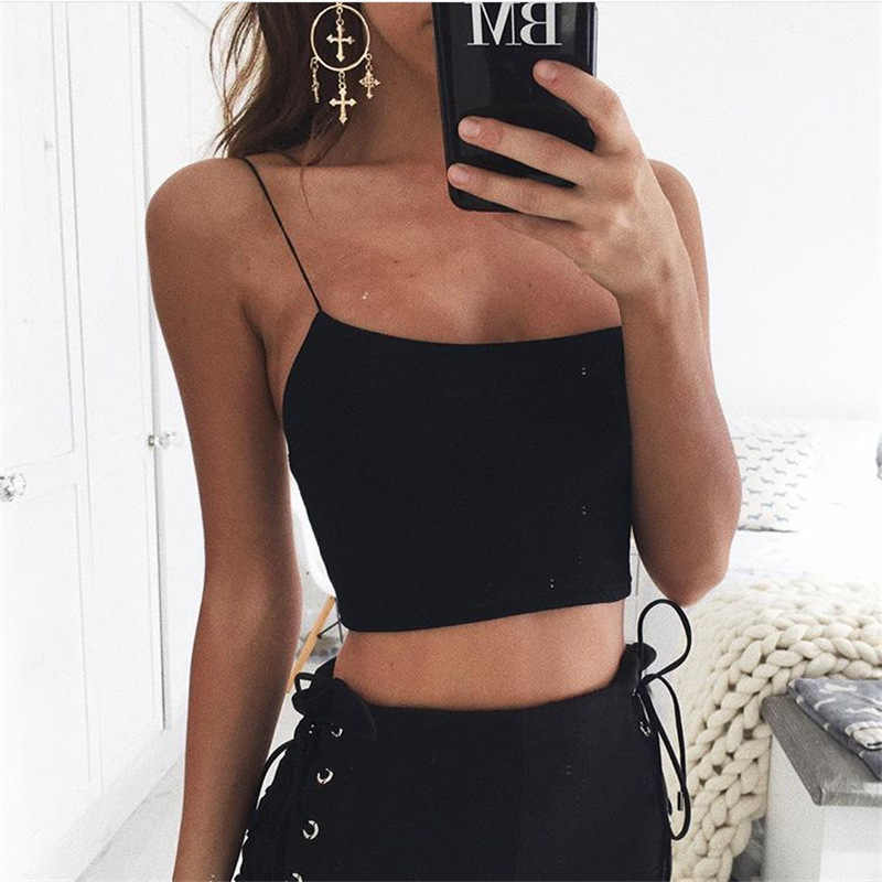 2019 Suit-dress Solid Color Self-cultivation Knitting Camisole Vest Woman sexy bralette crop top