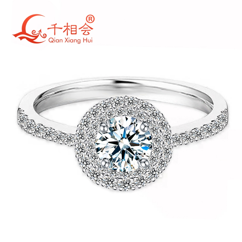 Classic 925 Sterling Silver Ring with 5mm Round-cut DF color moissanite Wedding Jewelry Rings Engagement