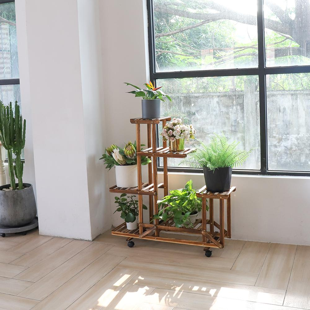 Wooden 6 Tiers Plant Stand Flowers
