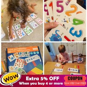 Image 2 - Juguetes matemáticos Montessori para niños, juguetes educativos para edades tempranas, calcomanía de madera para contar números, regalo de cumpleaños para niños