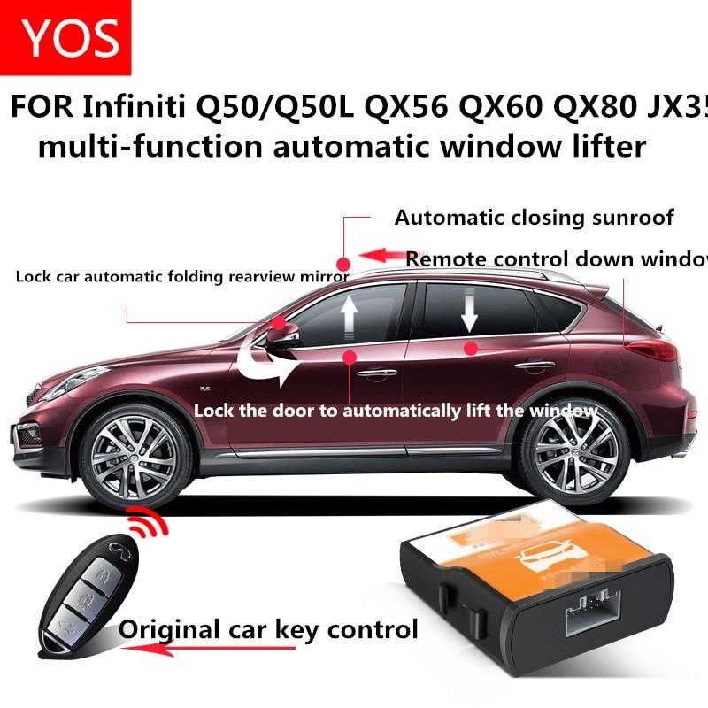 Automatic window closer FOR Infiniti QX50 Q50L QX56 QX60 QX80 JX35 Rearview mirror automatic folding modification