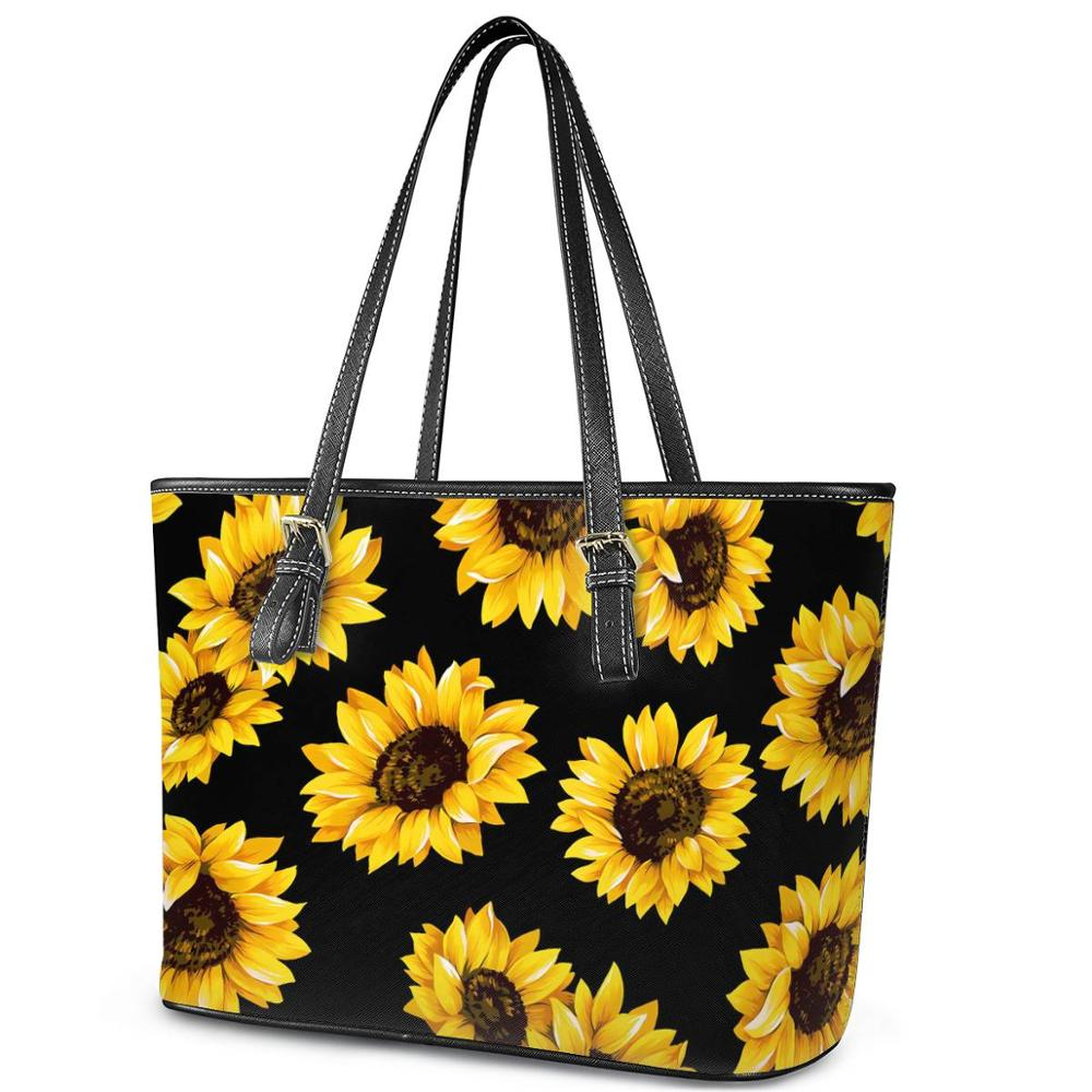 Twoheartsgirl Sunflower Prints Shoulder BagsLeisure Floral Women Shoulder Handbag Large Capacity Tote Bags sac a main