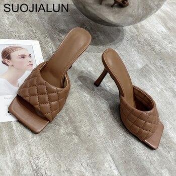 SUOJIALUN 2020 Brand Design Women slippers Elegant Square Toe Thin High Heels 9CM Slippers Summer Outdoor Beach Slides Shoes