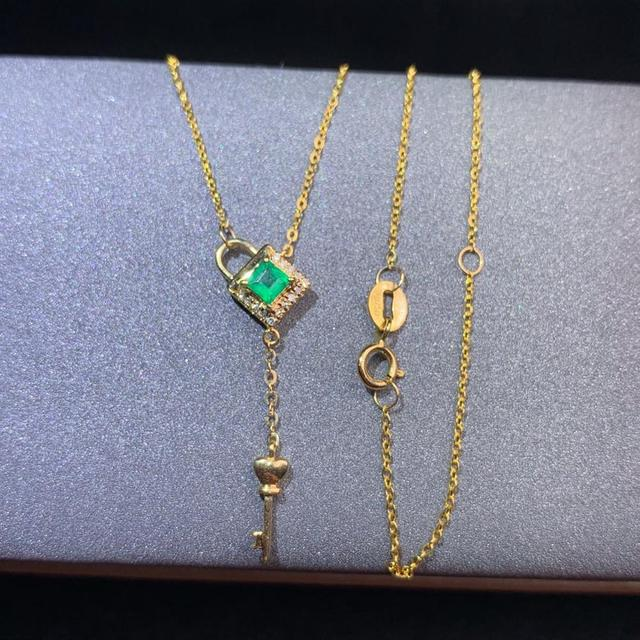 shilovem 18k yellow gold real Natural emerald Gemstone pendants plant women  necklace new Christmas Gift  dz09999933ml 3