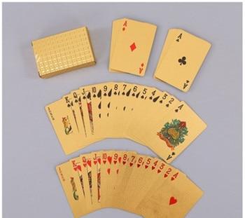 24K Gold Plastic Magic Card Waterproof Cards Magic Playing Cards Poker Game Deck Gold Foil Poker Set Board game недорого