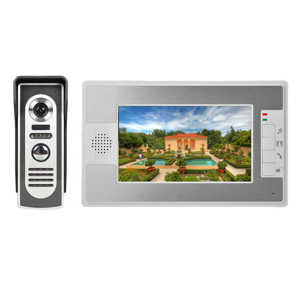 Visual Intercom Doorbell 7'' TFT LCD Wired Video Door Phone System Indoor Monitor 1000 TVL Outdoor IR Camera Support Unlock