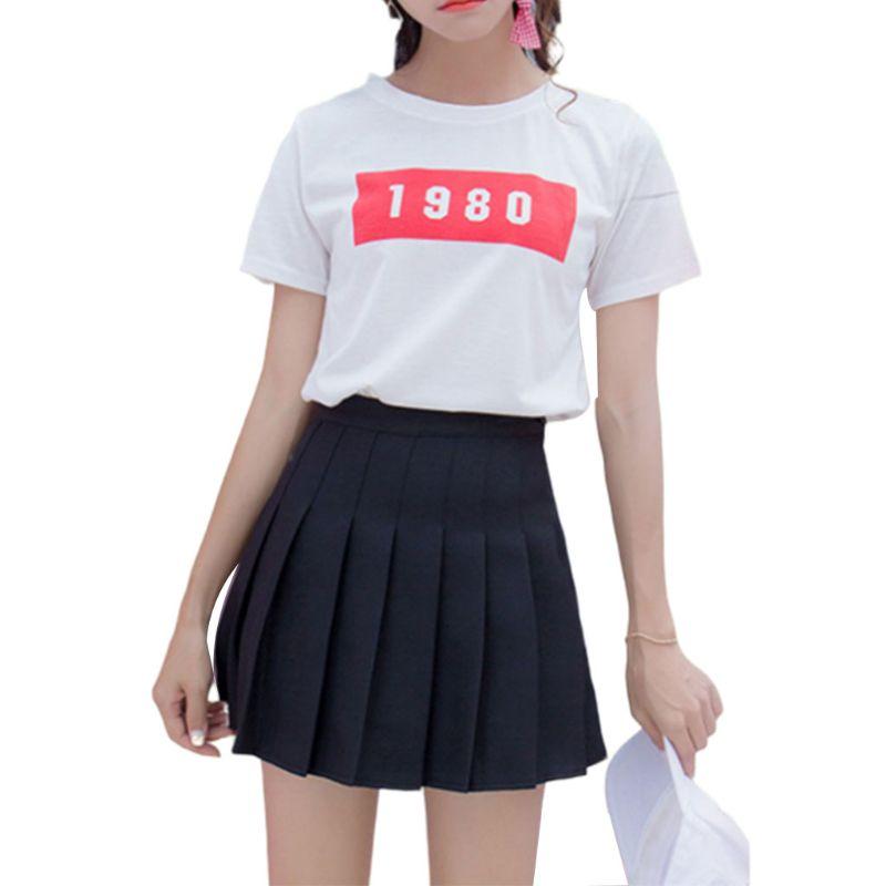Women Girls Sports High Waist Flared Skater Sailor Mini Skirt Japanese School Uniforms Cosplay Pleated Short Dress Plus Size