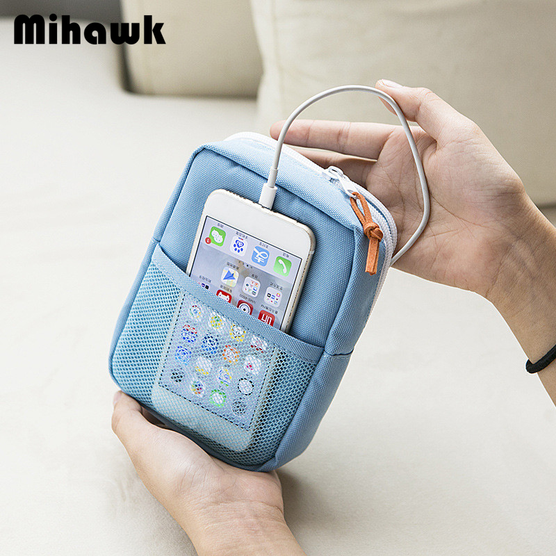 Mihawk Women's Digital Bag Data Lines Power Bank Package Portable Multi-function Travel Men's Pouch Case Accessories Supplies