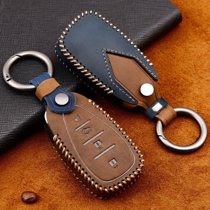 Genuine Leather Car Key Case For Chevrolet Bolt Camaro Cruze Equinox Malibu Sonic Spark Traverse Trax Volt 2018 2019 Keys Cover