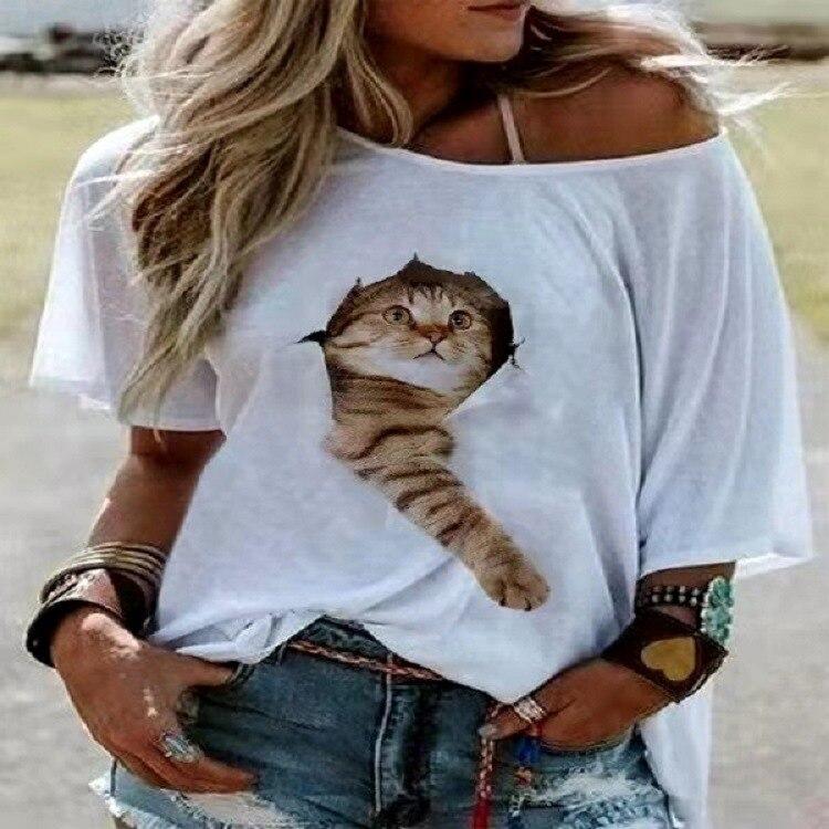 3D impression graphique numérique chat T-shirt femmes T-shirt à la mode nouveau T-shirt femme joli chaton mignon femmes T-shirt 3XL surdimensionné