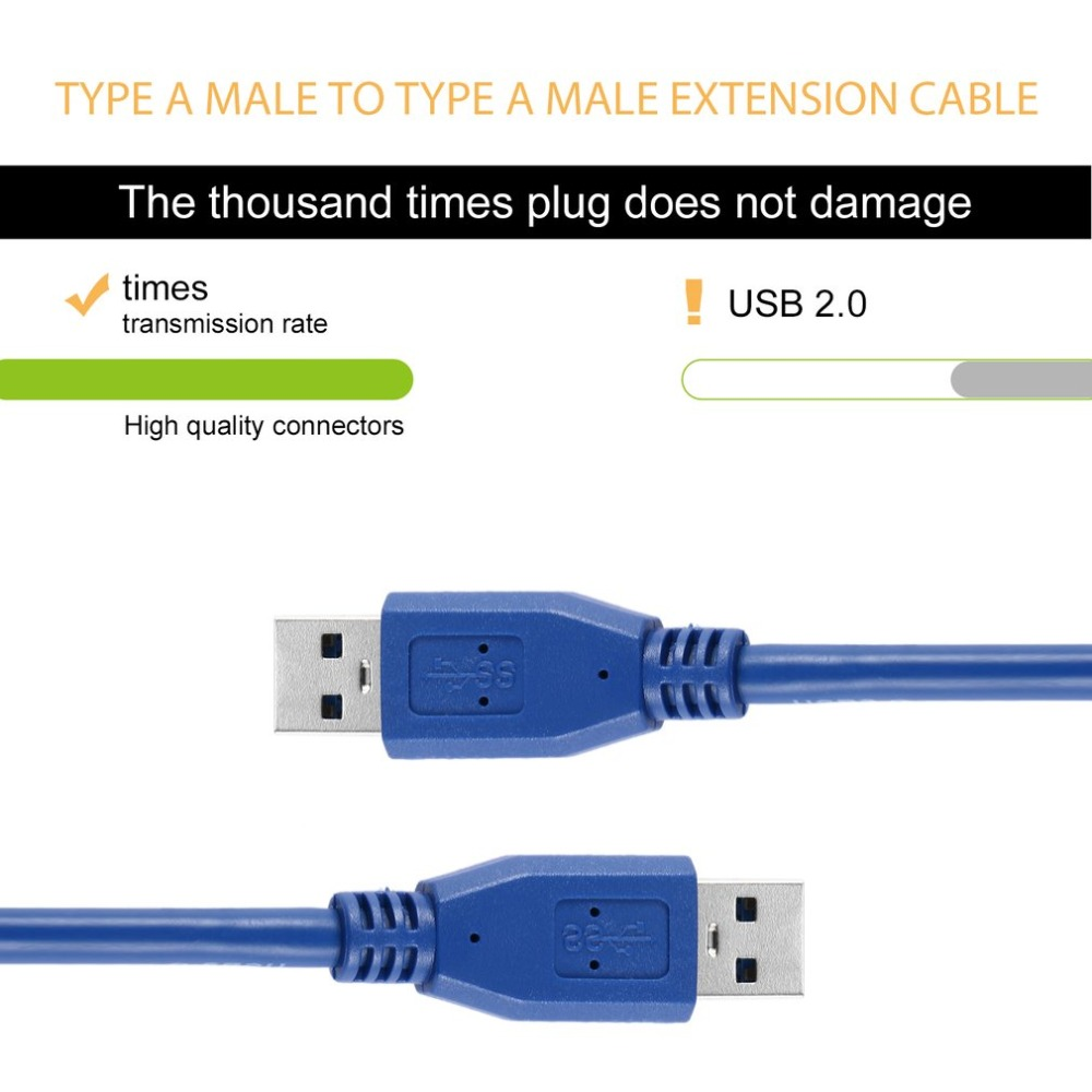 Mining Cable Portable Blue Solid 3FT/1M SuperSpeed Computer USB 3.0 Type A Male to Type A Male M/M M2M Extension Cable Cord Wire image