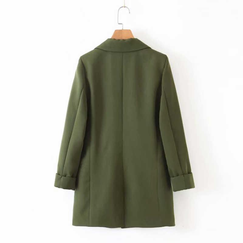 Liva ילדה נשים שיק צבא ירוק בלייזר לקשט כפתור פתוח תפר כיסים חזרה פיצול נשי עבודה ללבוש אופנתי מעיל