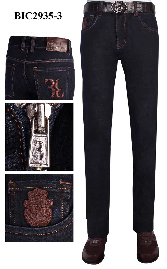 BILLIONAIRE Jeans Cotton Cowhide Men 2019 New Winter Thick Fashion Comfort Embroidery Casual Pattern Zipper Free Shipping