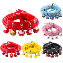 2019 New pet supplies cat and dog bell collar Teddy small big traction rope