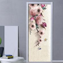 3d стерео hd ручная роспись Розовые цветы дверная наклейка обои