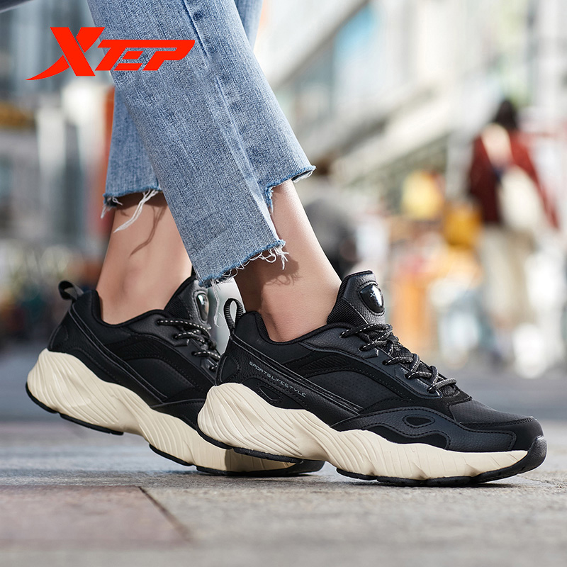 Xtep 2019 Women Leisure Shoes Women's Black White Chunky Sneakers Heightening Women Dorky Dad Shoe 882418329556