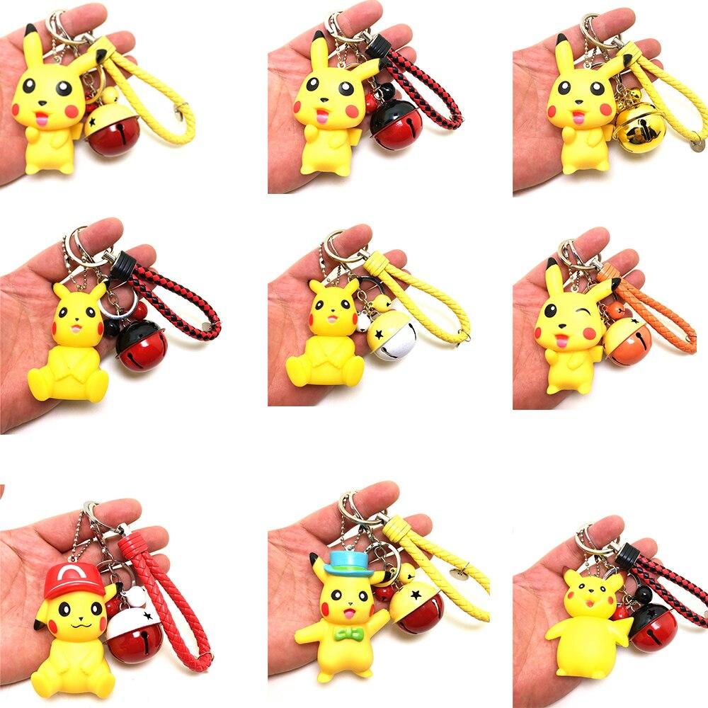 New Japanese Anime Pikachu Keychain Pocket Monsters Key Ring Holder Pokemon Go Pendant Kid Toys Key Chains Bag Charms